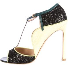 Pre-owned Gianvito Rossi Colorblock Glitter Pumps ($395) ❤ liked on Polyvore featuring shoes, pumps, black, glitter shoes, block shoes, open toe pumps, gianvito rossi shoes and kohl shoes