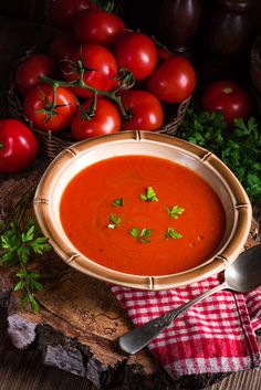Rustic tomato soup by Darius Dzinnik Tomato Soup, Salsa, Rustic, Ethnic Recipes, Food, Country Primitive, Essen, Retro, Salsa Music