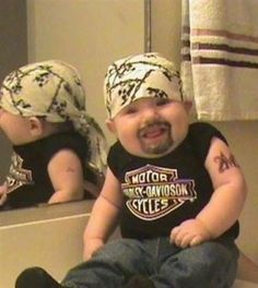 Harley Davidson Baby - they did this guy up! All he needs is a Hot Wheel! :)