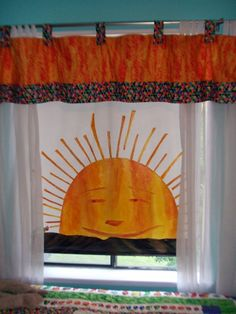 Eric Carle inspired window shade... would be cute in a themed library.