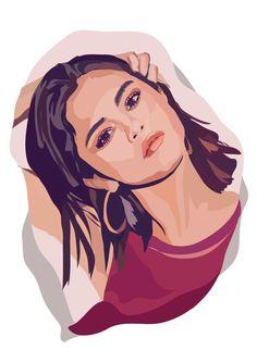 Selena Gomez Drawing, Selena Gomez Photos, Vector Portrait, Digital Portrait, Pop Art Portraits, Portrait Art, Graphic Design Lessons, Portrait Illustration, Cartoon Art