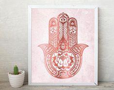 Para descargar imprimir, arte imprimibles, la Hamsa, rosa oro color de rosa, Yoga, Zen, Boho, Trending, arte, impresión, cartel, arte de la pared, decoración de la pared, dormitorio rosa