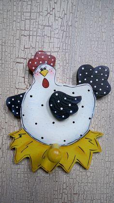 CHICKEN TOWEL HOLDER, Wooden Chicken, Towel peg. $9.95, via Etsy.