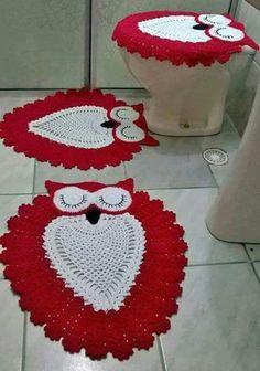 Jogo de banheiro | croche | barbante | coruja | vermelho e branco