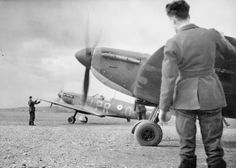 """B flight of No 609 Squadron RAF prepares for take-off at RAF Middle Wallop in July 1940. The aircraft in front is Spitfire Mk I PR-U which was flown by F/O Noel leC """"Aggy"""" Agazarian between 25 August and 30 September to claim 2 and 2 shared destroyed and 3 damaged. Used by the 23-year-old pilot on 7 September when it sustained damage to the oil sump and on 30 September when the glycol tank was hit north of RAF Warmwell. Fighter Aircraft, Fighter Jets, World's Largest Snake, Westland Whirlwind, Royal British Legion, Canadian Soldiers, The Spitfires, Supermarine Spitfire, Battle Of Britain"""
