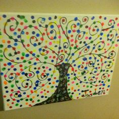 Q tip art for kids - I could see this on a teacher's wall with all the kids names on the branches. Canvas Painting Projects, Q Tip Painting, Painting For Kids, Art For Kids, Art Projects, Letter Q Crafts, Q Tip Art, Summer Camp Art, Dolphin Art