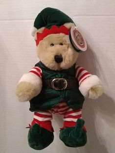 d562faec1f4 Starbucks Bearista Teddy Bear Elf Holiday Christmas Plush Stuffed Barista  2001  Starbucks