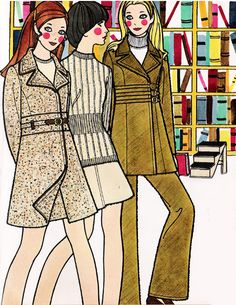 Fashion illustrations from 'Seventeen' magazine - September, 1969