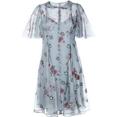 Valentino Flowers Fall dress (€4.705) ❤ liked on Polyvore featuring dresses, blue, button front dress, blue short sleeve dress, blue print dress, print dresses and blue peter pan collar dress