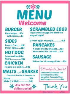 American Girl Diner Menus • Part 2