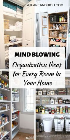 If you are looking for organizing ideas for your home then you have come to the right place. I have put together Bedroom Organization ideas, Kitchen organization ideas, bathroom organization ideas as well as family room organization ideas. #atlaneandhigh #organizationideas #kitchenorganization #bedroomorganization #bathroomorganization