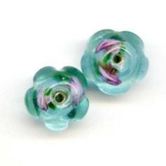2 Vintage Venetian Floral Foil Turquoise Glass by PickleValentine, $6.00