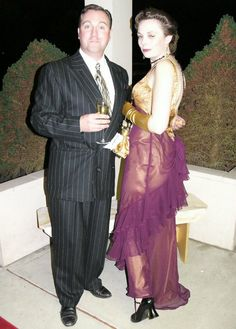 1940's inspired evening gown in aubergine chiffon and gold brocade  for him: wool pinstripe double breasted suit
