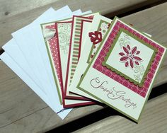 Christmas in July - Handmade Christmas Cards - Set of 5 Cards with Envelopes - Holiday Greeting Cards - Stampin Up. $15.00, via Etsy.
