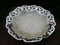 German Silver Plated Brass Bowl  Filigree Edging by ChicAvantGarde