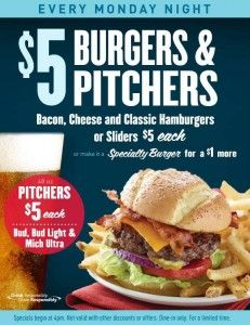 Enjoy $5 Burgers and Pitchers at Applebee's every Monday night from 4pm to close!