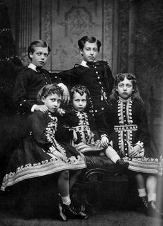 From left: HRH Prince George (1865-1936), HRH Princess Louise (1867-1931), HRH Princess Maud (1869-1938), HRH Prince Albert Victor (1864-1892) and HRH Princess Victoria (1868-1935) of Great Britain
