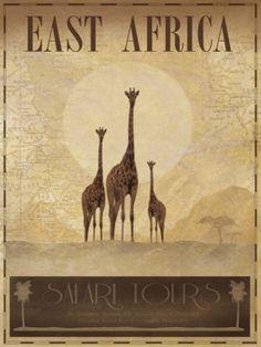 East Africa Poster, Giraffe family
