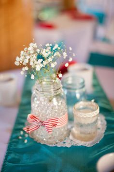 mason jar wedding // red and teal wedding // vintage wedding // retro wedding // baby's breath wedding