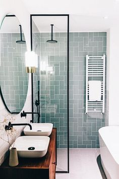 Modern Farmhouse, Rustic Modern, Classic, light and airy master bathroom design a few ideas. Bathroom makeover ideas and master bathroom renovation suggestions. Bathroom Renos, Small Bathroom Tiles, Small Bathroom Layout, Diy Bathroom, Bathroom Tile Patterns, Modern Bathrooms, Bathroom Remodel Small, Very Small Bathroom, Bathrooms On A Budget