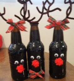 Red-Neck Beer or Root Beer Bottle Christmas Reindeer!  The more reindeer you have I guess the more chances Grandma got run over by one!
