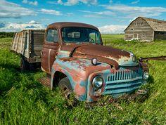 Farm Trucks, Old Trucks, International Harvester Truck, Rusty Cars, Heavy Machinery, Abandoned Cars, Vintage Trucks, Barn Finds, Yard Art
