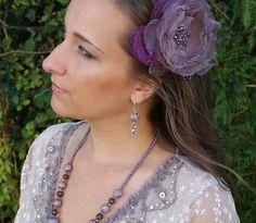 purple flower hair barette lilla hair barette floral hair barette purple hair flower purple hair piece wedding flower hair clip  lilla clip