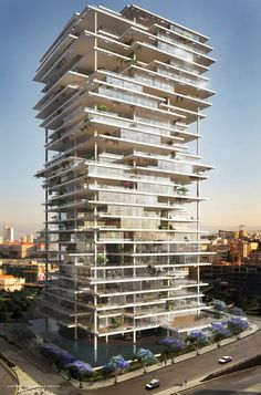 Built by Herzog & de Meuron in Beirut, Lebanon Beirut Terraces rethinks the concept of the skyscraper, creating a vertical village composed of thin, elegant platfor - architecture Architecture Unique, Futuristic Architecture, Facade Architecture, Installation Architecture, Futuristic City, Sustainable Architecture, Classical Architecture, Interesting Buildings, Amazing Buildings