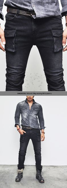 Bottoms :: Pants :: Vintage Oil Washed Slim Black Cargo-Pants 96 - Mens Fashion Clothing For An Attractive Guy Look