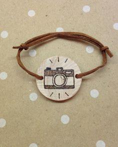 Wood burned camera bracelet on Etsy, $14.00