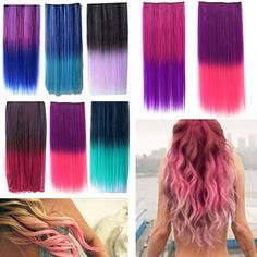 Clip In Colorful Hairpiece Synthetic Straight Hair Cosplay Ponytail Extensions  #AtlantaMart2005us #HairExtension #CosplayPartyDailyWearetc