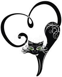 Illustration of Black cat with hearts vector art, clipart and stock vectors. Ima… Illustration of Black cat with hearts vector art, clipart and stock vectors. Crazy Cat Lady, Crazy Cats, Silhouette Chat, Silhouette Drawings, Cat Silhouette Tattoos, Stencils, Black Cat Tattoos, Tattoo Black, Cat Art