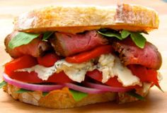 Grilled Flank Steak Sandwich Recipe with Gorgonzola, Roasted Red Pepper Paired with Liberty School Cabernet
