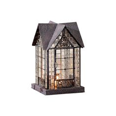 Glass and Metal Architectural Candle Lantern - Bronze-Tone Devonshire House #ECHOVALLEY