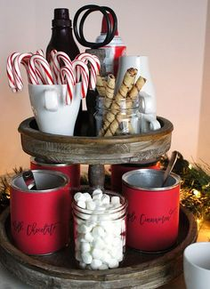 DIY Hot Chocolate Station and GIVEAWAY! christmas decorations party, candyland christmas decorations, christmas decor diy home Rustic stand from Antique Farmhouse was perfect for setting up our hot chocolate station. Decoration Christmas, Farmhouse Christmas Decor, Noel Christmas, Christmas Treats, Winter Christmas, Christmas Chocolate, Christmas Design, Winter Holidays, Christmas Coffee