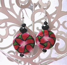 Geometric Red and Green  Polymer Clay Earrings £5.00