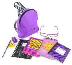 "NEW! 9 PC Purple Backpack & School Supplies Set for 18"" American Girl Dolls #Unbranded"