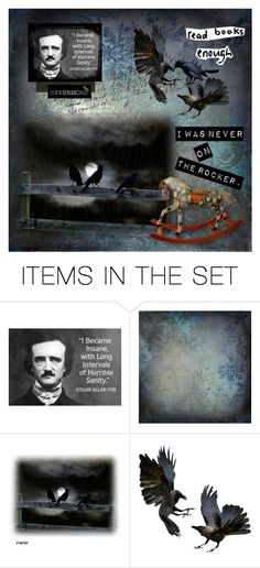 """""""Poe"""" by dawnfifer ❤ liked on Polyvore featuring art, rocker, Raven and Poe"""