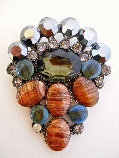 Art Glass Brooch Cabochons Hematite Crystals by RenaissanceFair