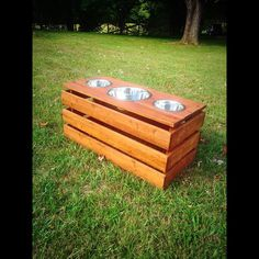 Elevated dog feeder with three stainless steel bowls - reclaimed wood dog feeder- raised dog feeder - rustic dog feeder - feeding stand by palletinspirations on Etsy https://www.etsy.com/listing/243539916/elevated-dog-feeder-with-three-stainless