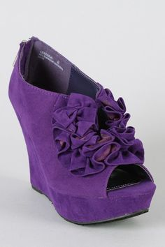 Purple Suede Wedge Booties