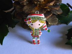 Elf Girl Rhinestone Pendant Red White Green Elf for Bubble Necklaces Key Chains Zipper Pulls Christmas Jewelry Holiday Gift Ornaments Charms by HouseofHairDecor on Etsy