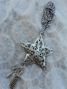 Large Beautiful Hair Stylist Silver Star with by ShearStyleJewelry, $18.00