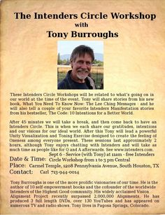 Meet Tony Burroughs - Sept 6 - So. Houston, TX - Service (with Tony) at 11am - free Intenders Circle Workshop from 1 to 3 pm