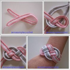 Here's the link to the tutorial >> DIY Crochet Bracelet Tutorial << by Anna Simple Crochet >>> More Creative Ideas