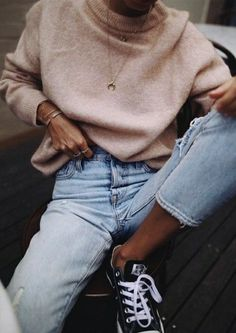 sweaters + denim + converse chuck taylors #ootd | outfit ideas