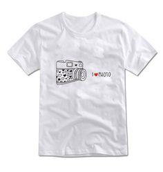 MIRINE Unisex I LOVE PHOTO Cute Camera Graphic Cotton Basic T-shirt_4 Colors #MIRINE #CASUAL
