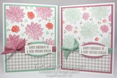 Succulent Gingham Birthday cards!  Stamp a lovely background with the pretty two-step images from Oh So Succulent!  I'm featuring them as my Stamp-of-the-Month for April 2017.    Learn more at www.toocoolstamping.com