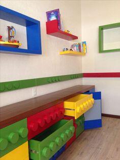 Lego Bedroom Decor – Home Bedroom Lego Bedroom Decor, Bedroom Storage, Kids Bedroom, Boy Bedrooms, Lego Storage, Storage Ideas, Storage Design, Lego Shelves, Bench Storage