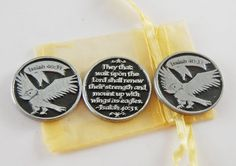 Set of 3 Eagle Soar Pocket Tokens with Organza by CourageInStone, $6.00